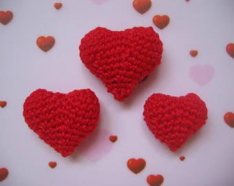 3 small red hearts in 3D crochet
