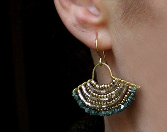 Raw diamond earrings // raw diamond jewelry // raw diamond and brass earrings // blue diamond // la chlo bijoux