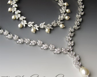 Cubic Zirconia & Pearl Bridal Necklace, Bracelet and Earrings Set - CALISTA