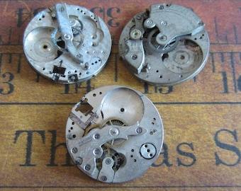 Featured - Steampunk supplies - Watch movements - Vintage Antique Watch movements Steampunk - Scrapbooking M9