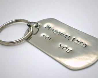Handstamped Dog Tag Key Chain - Stainless Steel - CUSTOMIZED for you Handmade by the KIDS