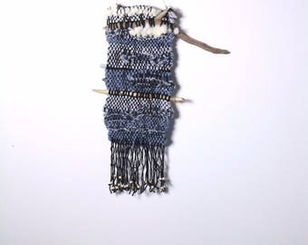 Wall hanging in wool and denim