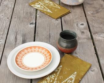 olive green batik dinner napkins