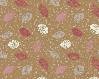 Leaves in Beige Organic Cotton Jersey