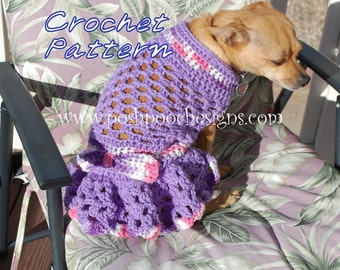Instant Download Crochet pattern - Spring Fling Dog Sweater Dress - Small Dog Sweater