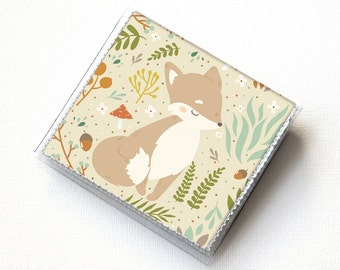 Vinyl Moo Square Card Holder - Forest Fox 2 / fox wallet, vinyl, snap, mini case, moo case, small, square, foxes, gift, fox, woodland
