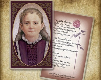 The Little Flower, Saint Therese of Lisieux Holy Card or Wood Magnet  #0172