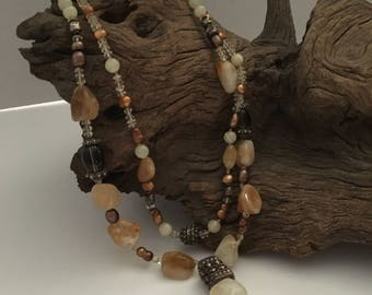 Citrine, Quartz, Pearl Necklace