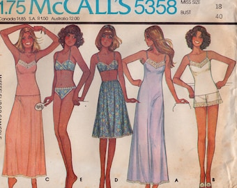 FF McCalls 5358 Plus Size Lingerie Slip or Camisole, Bra, Panties, Half-Slip & Bikini 1970s Vintage Sewing Pattern, Size 18, Bust 40