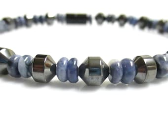 Magnetic Hematite Bracelet, Blue Sodalite Magnetic Therapy Bracelet, Sodalite Bracelet, Magnetic Jewelry, Blue Bracelet, Magnetic Jewelry