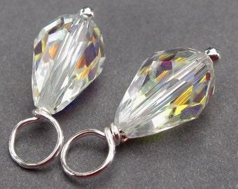 Swarovki Birthstone Charms,  Swarovski Teardrop AB Crystal, April Birthstone,  Wire Wrapped Bead Dangles, Interchangeable Earring Findings