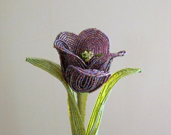 French beaded flower, Queen of Night tulip