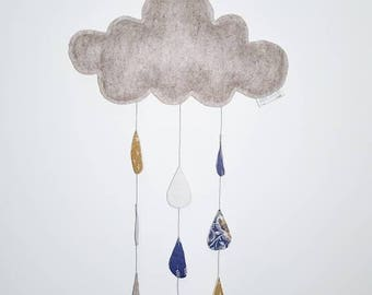 Felt cloud mobile - wall hanging - baby mobile
