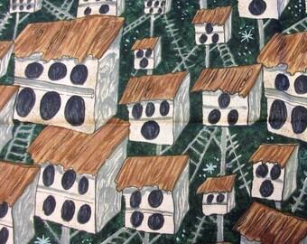 Cioricui By Moda Quilt/Craft Fabric - Bird Condos - Vintage - 1/2 Yd.