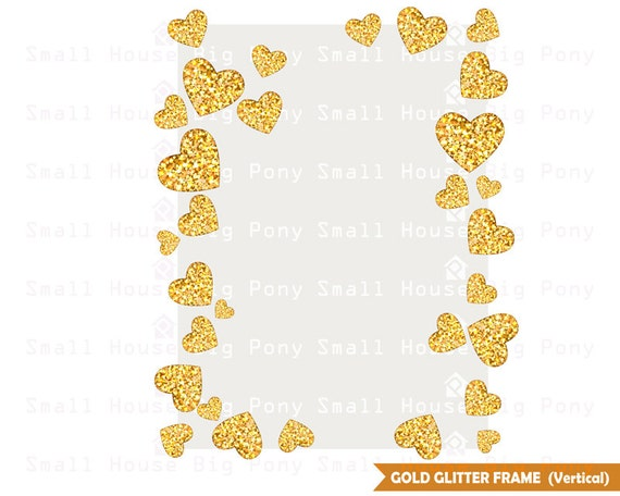 Glitter Gold Hearts Frame Clipart, heart Clip art, glitters Clipart, card clip art, frame Clip Art