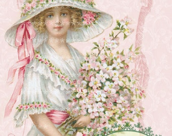 Pink My Valentine girl vintage Large digital download ECS buy 3 get one free Pink ROSES romantic single image