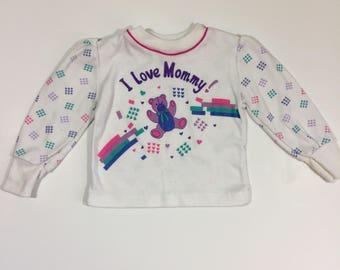 Vintage 80's Toddler Shirt - Size 18 months - Toddler Girl's Shirt - Vintage Girl's Shirt - 18 month Vintage - I Love Mommy Shirt