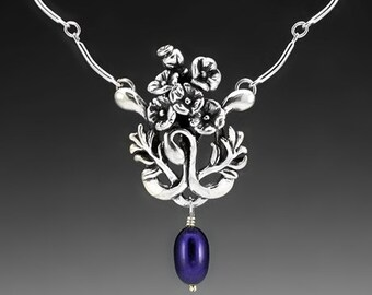 Poppy Bouquet Sterling Silver Necklace with Blue Pearl