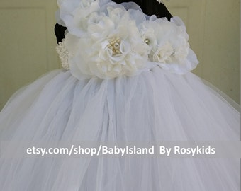 Flower girl TuTu dress, birthday girl tutu, newborn-8yr, Daily Dressing up,Flower girl,Picture,Baby Shower,Pageant, Gift, Party, Picture