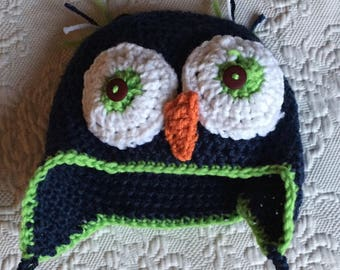 Crocheted Owl hat for infants and children