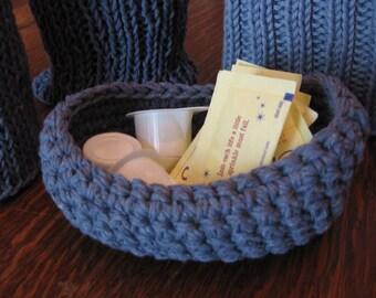 Recycled Cotton Basket Hand Crocheted in Denim Blue Yarn