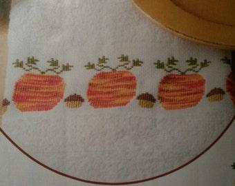 Pumpkins & Acorns Towel Cross Stitch Pattern Fall Autumn