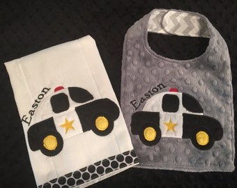 Police Burp and Bib Set/police bib/police burp cloth/boys police bib/boys police burp cloth/monogrammed police bib/personalized police bib