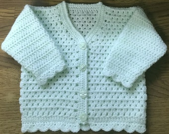 PDF Instant Download Baby Crochet Cardigan Pattern in DK. Sizes 3 months to 6 years (1008)