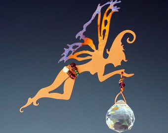 10% OFF - Holiday Ornament - Copper Manifestation Fairy with Crystal Rainbow Prism -Hanging Sun Catcher