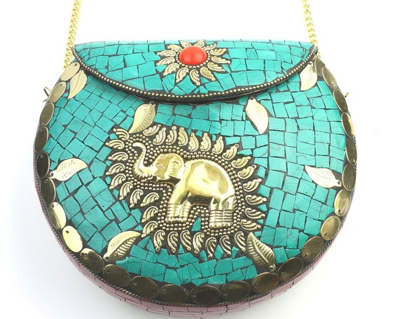 Anjara Clutch, Turquoise Vintage Stone Purse, Elephant Purse, Ornate brass bag, Metal Purse, Antique Bag, Boho, Gypsy, Cigarette Case