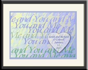 Unique Personalized Wedding Gift: YOU & ME; Contemporary style,  framed; blue/green colors. Anniversary or Engagement Gift