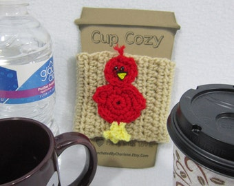 Cardinal Bird Cup Cozy, Crocheted Coffee Cup Sleeve, Water Bottle Cover or Mug Cozy, Mothers Day Gift for any Cardinal Fan