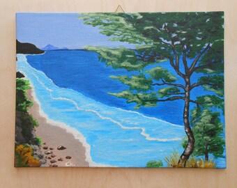 Acrylic canvas panel painting, Lefkada Island Home decor