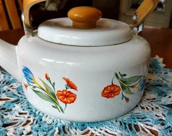 Vintage Enamel Tea Kettle Lovely Tulip Tabletops Unlimited Retro Kitchenware