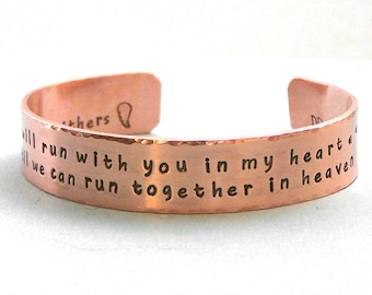 I will run with you in my heart - Personalized Dog Agility Remembrance Cuff Bracelet - Canine Agility Jewelry