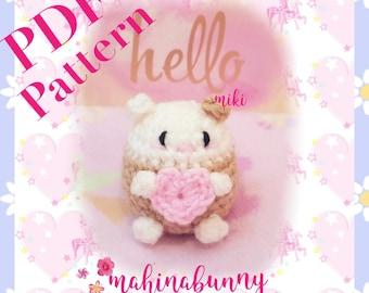 PDF PATTERN Hamster amigurumi, crochet hamster pattern, amigurumi hamster plush,  hamster with heart, cute hamster crochet pattern, PDF