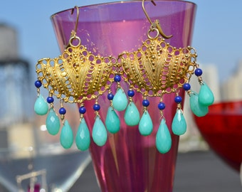 ornate chalcedony and lapis earrings...