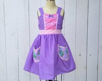 RAPUNZEL dress, RAPUNZEL costume, princess Rapunzel, comfortable dress, lavender princess dress, toddler girls costume, princess dress