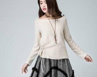 Linen top, women linen top, cream top, plus size top, summer top, handmade top, loose linen top, made to order, womens top 1487