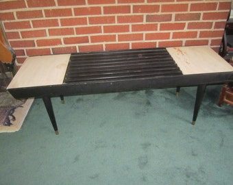 Vintage Mid Century Modern Wood Slat Bench with Two Self Storing Folding Snack Tables