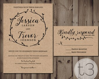 Rustic Wedding Invitation and Response card, Wedding invitation and rsvp card, vintage wedding invite, rustic formal wedding, burlap, linen