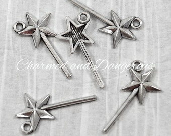 12 pewter Magic Wand charms (CM88)