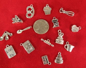 """SET! 15pc """"baking"""" deluxe charms set in antique silver style (CS3)"""