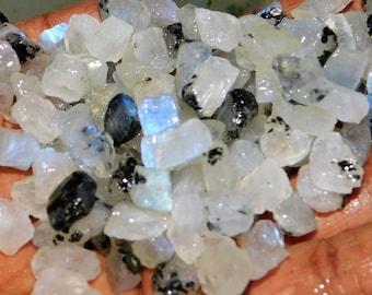 100% Natural Blue-Falshing-CTS-100 Rainbow-Moonstone-Rough- Loose Gemstones