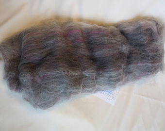 2.1 oz.Alpaca  Handcrafted Carded Batt - All Natural White and Grays Blended w/Angelina, Firestar and Hand Dyed Locks