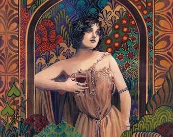 Meditrina Roman Goddess of Wine 11x14 Print Art Nouveau Pagan Mythology Bohemian Gypsy Goddess Art