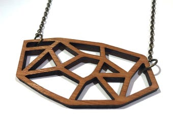 Bamboo necklace laser cut / Free shipping worldwide / Wooden jewelry