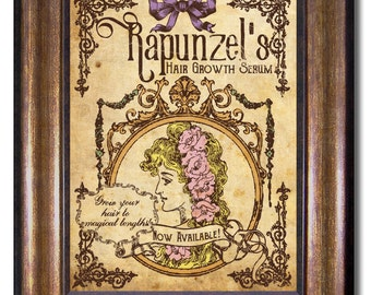 Rapunzel's Hair Growth Serum - Tangled Vintage Style Poster - Available in Multiple 5x7, 8x10, 11x14, 16x20, 18x24, 20x24, 24x36