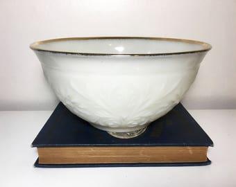 Vintage Floral Milk Glass Bowl