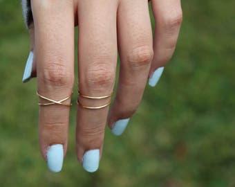 Criss cross ring, x ring, knuckle ring, criss cross knuckle ring, midi ring set, cross ring, boho rings, criss cross gold ring, midi set